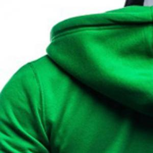 Simple Drawstring Hooded Front Pocket Solid Color Fitted Men's Long Sleeves Hoodie -