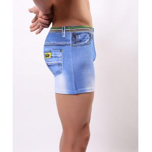 Elastic Waist Sexy U Pouch Design Faux Pants Style Men's Boxer Brief - BLUE M