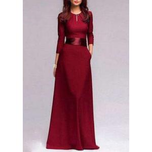 Jewel Neck Self Tie Belt Floor Length Prom Dress