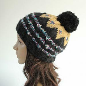 Chic Woolen Yarn Ball Embellished Stripe Pattern Knitted Beanie For Women -