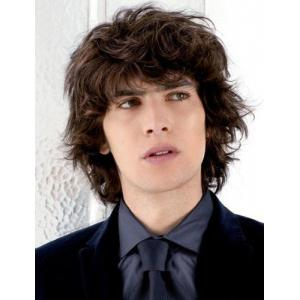 Handsome Short Synthetic Shaggy Curly Vogue Deep Brown Full Bang Capless Wig For Men