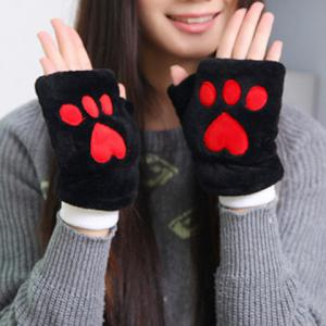 Pair of Chic Bear Paw Shape Embellished Downy Fingerless Gloves For Women - Black - 4xl