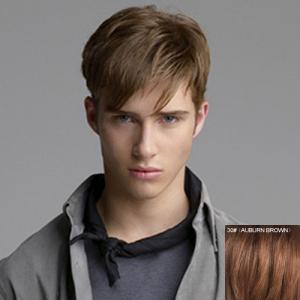 Fashion Side Bang Capless Masculine Short Straight Real Natural Hair Wig For Men - Auburn Brown