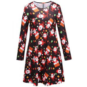 Christmas Santa Print Long Sleeve Party Dress -