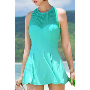 Sexy Jewel Neck Cut Out Ruffled One-Piece Swimsuit For Women - Light Green - Xl