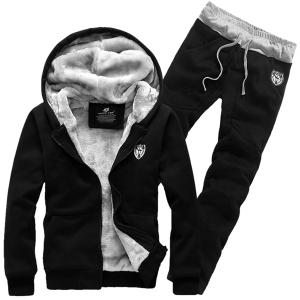 Hooded Badge Embroidery Long Sleeve Men's Sherpa Hoodie Suit(Hoodie+Pants) - Black - Xl
