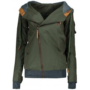 Active Hooded Skew Zippered Long Sleeve Thick Hoodie For Women - Army Green - L
