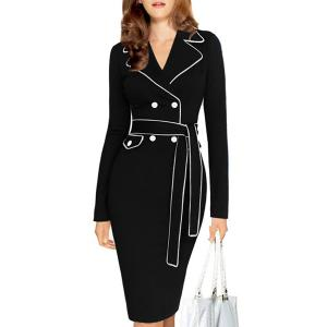 Color Block Belted Long Sleeve Business Dress