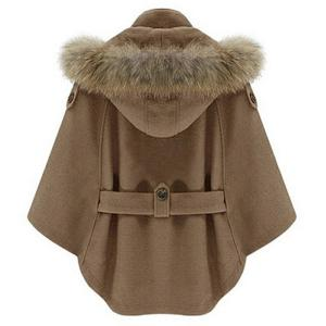 Trendy Convertible Faux Fur Hooded Thick Belted Wool Cloak Cape For Women -