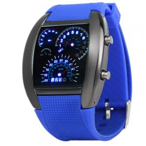 Rubber Band LED Car Watch / Table with Blue Light Display Time Arch Shaped - Blue - 40