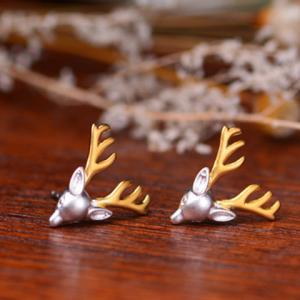 Pair of Alloy Reindeer Head Shape Earrings - Silver