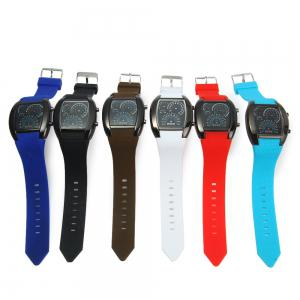Rubber Band LED Car Watch / Table with Blue Light Display Time Arch Shaped - COFFEE