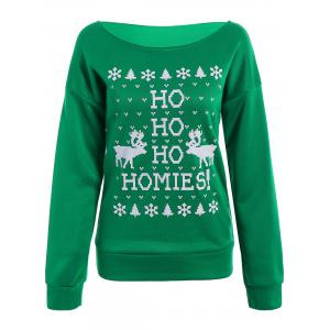 Merry Christmas Print Skew Neck Pullover Sweatshirt