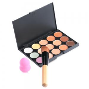 15 Colors Contour Face Cream Makeup Concealer Palette with Powder Puff Brush - Jet Black 01#