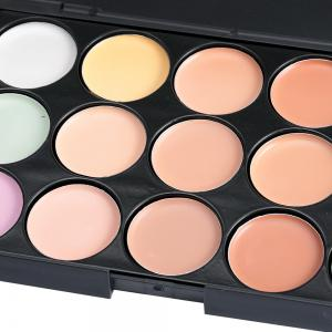 15 Colors Contour Face Cream Makeup Concealer Palette with Powder Puff Brush -