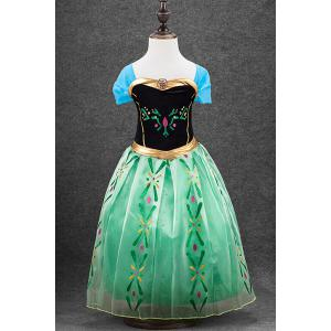 Stylish Short Sleeve Square Neck Patterned Spliced Frozen Cosplay Girl's Dress - Green - 120