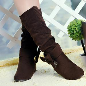 Graceful Bow and Suede Design Women's Mid-Calf Boots -