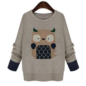 Cute Round Neck Long Sleeve Owl Embroidery Plus Size Women's Sweater