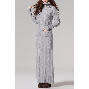 Vintage Turtleneck Cable Knit Long Sleeve Dress For Women