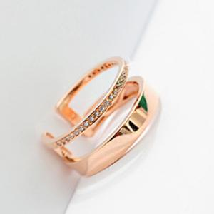 Rhinestone Hollow Out Two Layered Cuff Ring - ROSE GOLD ONE-SIZE