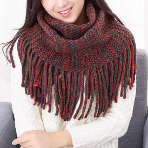 Chic Long Tassel Mixed Color Knitted Neck Warmer For Women - Jacinth - M