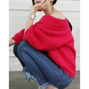 Stylish Off-The-Shoulder Long Sleeve Solid Color Loose Women's Sweater -