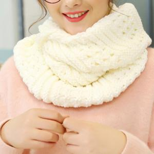 Chic Solid Color Loop Stripy Knitted Infinity Chunky Scarf For Women - White - 39