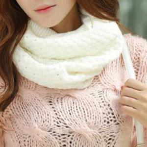 Chic Solid Color Crocheting Knitted Infinity Chunky Scarf For Women - White
