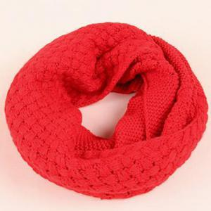 Chic Solid Color Crocheting Knitted Infinity Chunky Scarf For Women - RED