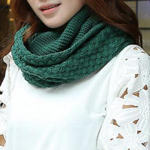 Chic Solid Color Crocheting Knitted Infinity Chunky Scarf For Women - Blackish Green
