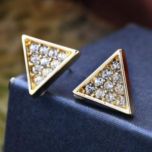 Pair of Cute Faux Crystal Triangle Shape Stud Earrings For Women -