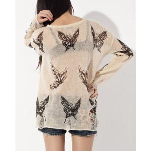 Fashionable Women's Butterfly Print Ripped Long Sleeve Scoop Neck Sweater -
