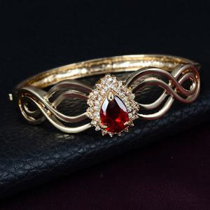 A Suit of Vintage Faux Ruby Water Drop Necklace Ring Bracelet and Earrings For Women - GOLDEN ONE-SIZE