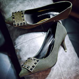 Office Lady Rivet and Suede Design Women's Pumps - GREEN 39