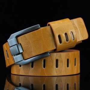 Stylish Pin Buckle Stripy PU Wide Belt For Men - Yellow - One Size