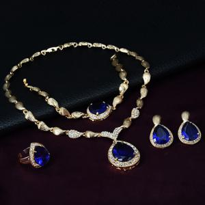 Faux Sapphire Water Drop Necklace Ring Bracelet and Earrings -