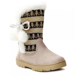 Stylish Knitting and Pompon Design Women's Snow Boots - Off-white - 38