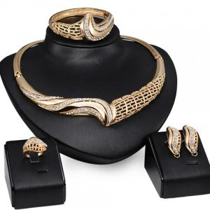 A Suit of Chic Rhinestone Hollow Out Necklace Ring Bracelet and Earrings For Women - Golden - One-size