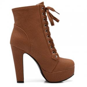 Concise Buckles and Pure Color Design Women's Lace Up Boots - BROWN 39