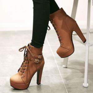 Concise Buckles and Pure Color Design Women's Lace Up Boots -