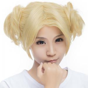 Cute Light Blonde Short With Bunches Vogue Fluffy Wavy Synthetic Naruto Temari Style Cosplay Wig -