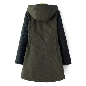 Stylish Hooded Long Sleeve Quilting Faux Leather Spliced Women's Coat - ARMY GREEN 5XL
