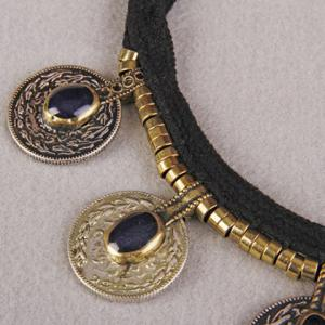 Vintage Faux Crystal Coin Necklace -