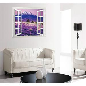 3D Beautiful Lavender Flower Sea Style Removable PVC Wall Stickers Colorful Room Window Decoration -