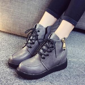 Fashion Lace-Up and Zip Design Women's Short Boots -
