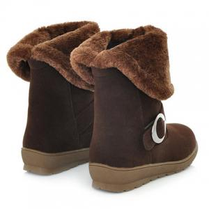 Concise Buckle and Fold Over Design Women's Mid-Calf Boots -