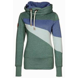 Chic Hooded Long Sleeve Hit Color Women's Hoodie