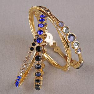 A Suit of Faux Crystal Rhinestone Bracelets -