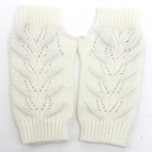 Pair of Chic Hollow Out Crochet Knitted Fingerless Gloves For Women - WHITE