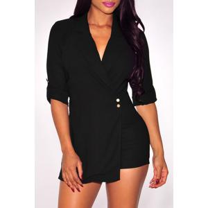 Sexy Lapel Solid Color 3/4 Sleeve Romper For Women
